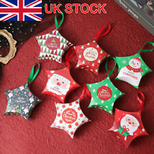 10Pcs Christmas Star Tree Decoration Home Party Paper Favour Candy Gift Boxes