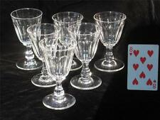 Antique Red Wine Glass Cut Fluting, Panals mid - late 19th Clear Crystal Set 6