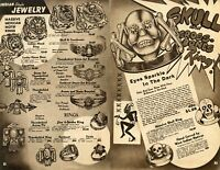 1950 Print Ad of Massive Mexican Rings, Skull & Crossbones Indian Rings Bracelet