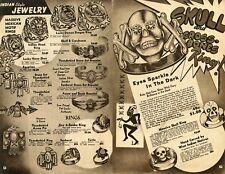 1950 Print Ad of Massive Mexican Rings, Skull & Crossbones Indian Rings Bracelet