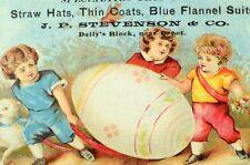 1880's kids Sheep Giant Easter, Egg J.P. Stevenson, Blue Flannel Suits Card F97