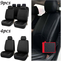 Black Deluxe PU Leather Interior Car Auto Seat Protector Cover 4pcs / 9pcs Y7B7