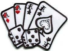 Four aces playing cards poker retro dice craps applique iron-on patch new S-958
