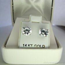 2.5 Carat ROUND CUT simulated Diamond Stud EARRINGS 14K White or YELLOW GOLD