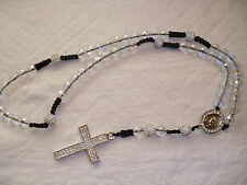 Shamballa Crucifix cross Necklace - White + Clear crystal beads & Diamante Cross