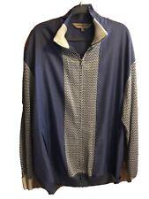 Silversilk Luxe Men's Blue White Knit/ Fabric Full Zip Jacket Blazer 2 X Mint