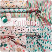 French Knitting Yarn and Crochet Crafty Themed 100% Cotton Patchwork Fabric