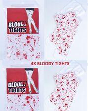 4x Bloody Blanc Collants Avec Taches De Sang Ensanglanté Infirmière Halloween Zombie Vrac Lots