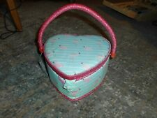 Heart Shape Sewing Basket with Handle & Flamingo Fabric inner Tray BNWT