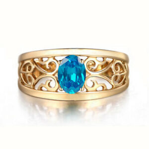 14KT Yellow Gold Oval Shape 1.50 Carat Natural Blue Topaz Solitaire Women's Ring