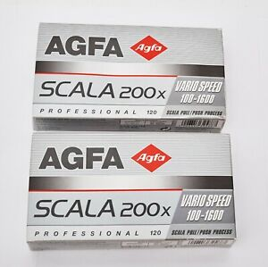 10x AGFA 120 SCALA 200X Film RARE BLACK & WHITE medium format 200 SLIDE B&W