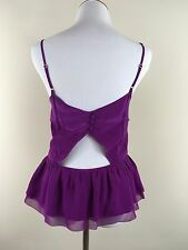 Juicy Couture 14 Top New Purple peplum Party Date thin strap open back zipper