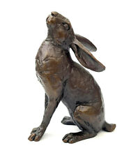 More details for moon gazing hare solid bronze foundry cast sculpture