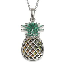 Inlaid Paua Shell Pineapple Fruit Pendant Silver Chain Necklace - Orange