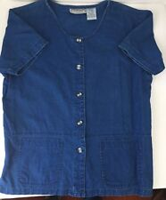 Blouse Dark Blue Denim Style Size Small Loose Pockets Short Sleeves Linen Cotton