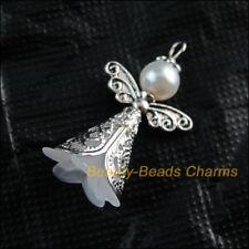 4Pcs White Acrylic Angel Wings Tibetan Silver Tone Charms Pendants 22x37mm
