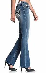 AFFLICTION Women's Denim Jeans JADE FLEUR ARIZONA Embroidered Biker MMA