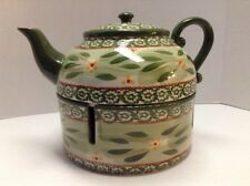 Temp-Tations Presentable Ovenware Old World Green Teapot with Trivet