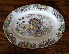 Large Vintage Brown Transferware Colorful Thanksgiving Turkey Meat Platter Tray