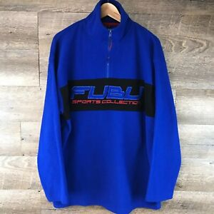 Vintage Fubu Sports Collection 1/4 Zip Fleece Pullover | Royal Blue | Size M