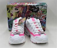 SKECHERS Ladies White/Pink Leather Memory Foam Trainers UK3 EU36 RRP69 BNIB