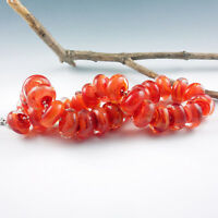 Bonfire - 8 Handmade Lampwork Glass Beads, SRA Artist made Beads