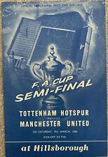 More details for tottenham hotspur v manchester united fa cup semi final 1962