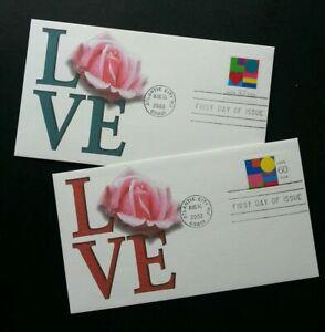 [SJ] USA Love 2002 Valentines Roses Flower Flora Plant (stamp FDC 2's)