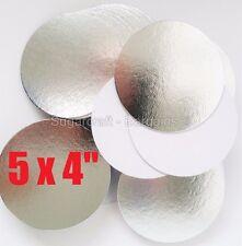 "5 x 4""  ROUND THIN CUT EDGE SILVER cake cupcake boards cards sugarcraft CULPITT"