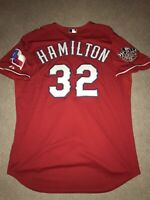 Josh Hamilton Authentic 2010 WS Texas Rangers On-Field Majestic Jersey 52 2XL