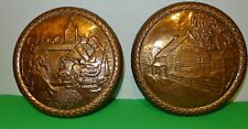 Superb pair of round copper wall hanging plaques by A.NADEAU - Quebec House