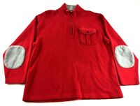 Orvis Mens Red Long Sleeve 1/4 Zip Up Pullover Sweater Size Medium