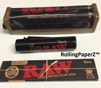 RAW Black KING SIZE Cigarette Papers/ Clipper Lighter/ 110mm Rolling Machine