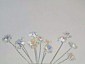 "Clear Iridescent Crystal Octagon Beads Wedding  Bouquet Jewelry Flower 10"" Stem"