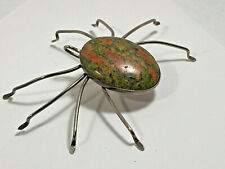 Unakite Jasper 40 x 29.5mm Spider Insect Pendant Pin Artisan Unique  Halloween