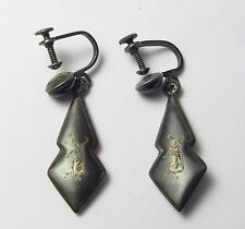 + Antique STERLING Silver NIELLO Pair Siamese Earrings Siam Thailand Hand Tooled
