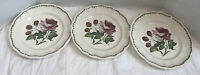 "Spode-Victoria-Strawberry Rose Set Of 3 Salad Plates 8 3/4"" Excellent"