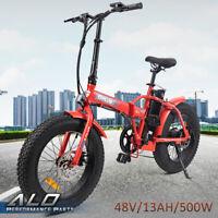 "Red Folding Electric Fat Tire Bike Beach Bicycle City Ebike 20"" 48V 500W 13AH"