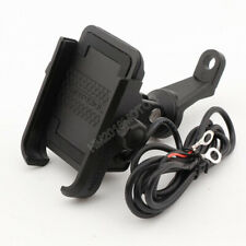 Aluminum Motorcycle Black Cell Phone Mirror Mount Holder USB Charger 3.5-6''