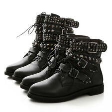 Women Punk Spikes Gothic Buckle Lace Up Riding Combat Ankle Boots Cool Shoes New