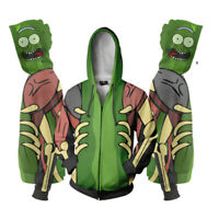 US Rick and Morty Hoodies 3D Print Sweatshirts Hooded Zipper Jacket Casual Coat
