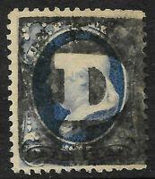 "Fancy Cancel ""Perfect Strike Letter D"" SON 1 Cent #206 Franklin 1870-79 US 60B53"
