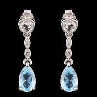AQUAMARINE SWISS TOPAZ &  DIAMOND EARRINGS SILVER 2.28 CWT! WHITE GOLD LOOK  GEN