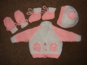 """WHITE/PINK CARDIGAN, BONNET, MITTENS/BOOTEES 14"""" CHEST PREM BABY"""