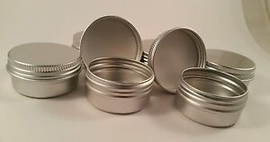 Empty Aluminium Balm cosmetic Tins (15 count of 1/2 oz) screw top with lined lid