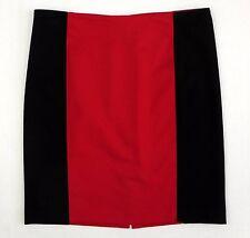 Michael Kors Color Block Stretch Pencil Skirt Gold Back Zipper Red Black 10