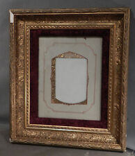 Antique 8x10 Eastlake Gilt Lemon Gold Gesso Wood Picture Frame Ear Corn Velvet