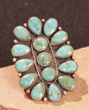 Navajo Ring with 15 Turquoise Settings Size 10