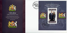 Gibraltar 2016 FDC Prince William & Kate 5th Wedding 1v M/S Cover Royalty Stamps