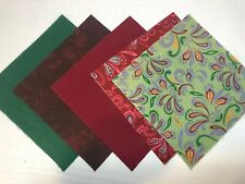 """40 5"""" Quilting Fabric Squares  PreCut Quilting Charm Pack Burgundy & Green Swirl"""